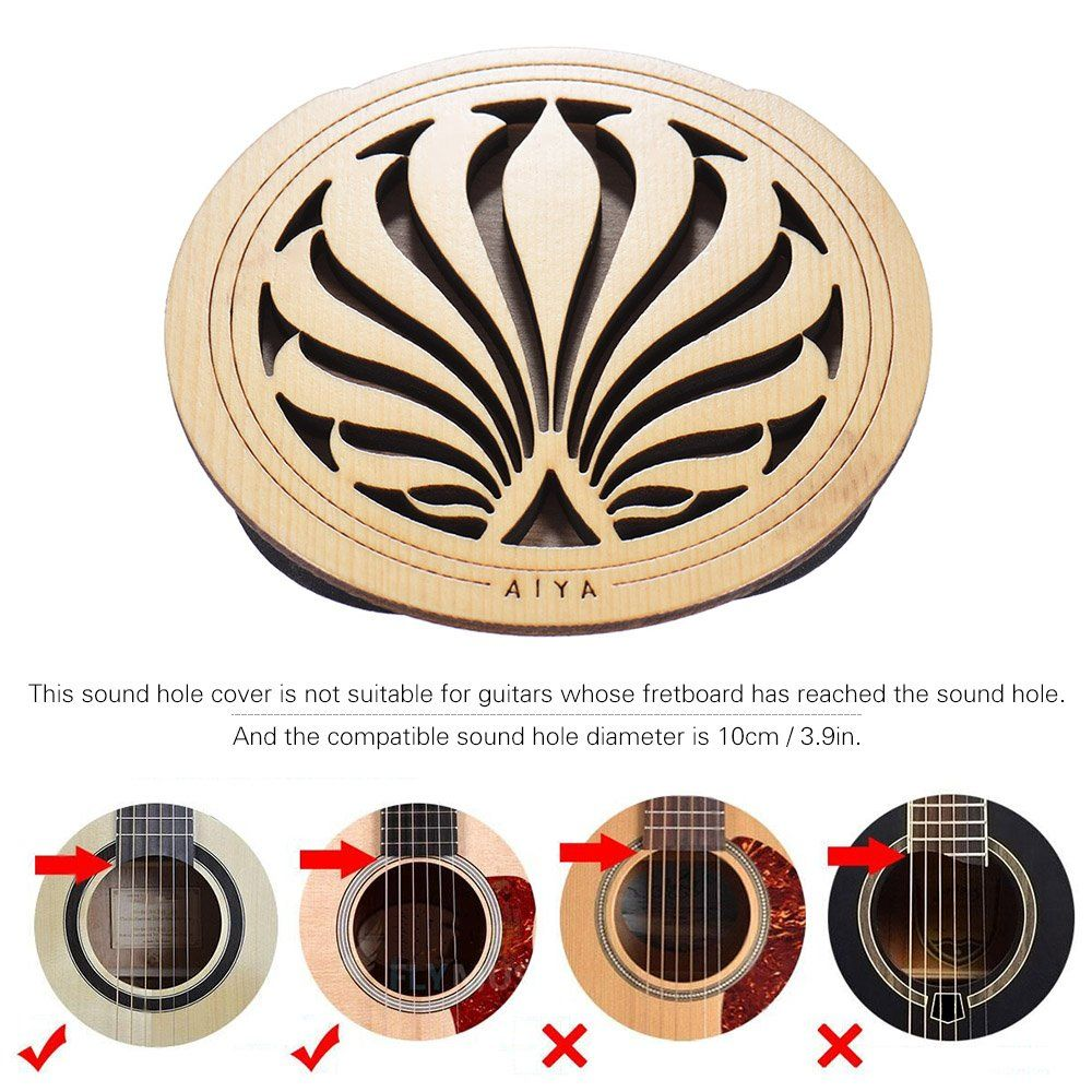 Ammoon Guitar Wooden Soundhole Sound Hole Cover Block Feedback Buffer Spruce Wood For Eq Acoustic Folk Guitars Find Out More Ab Guitar Wooden Pickup Covers