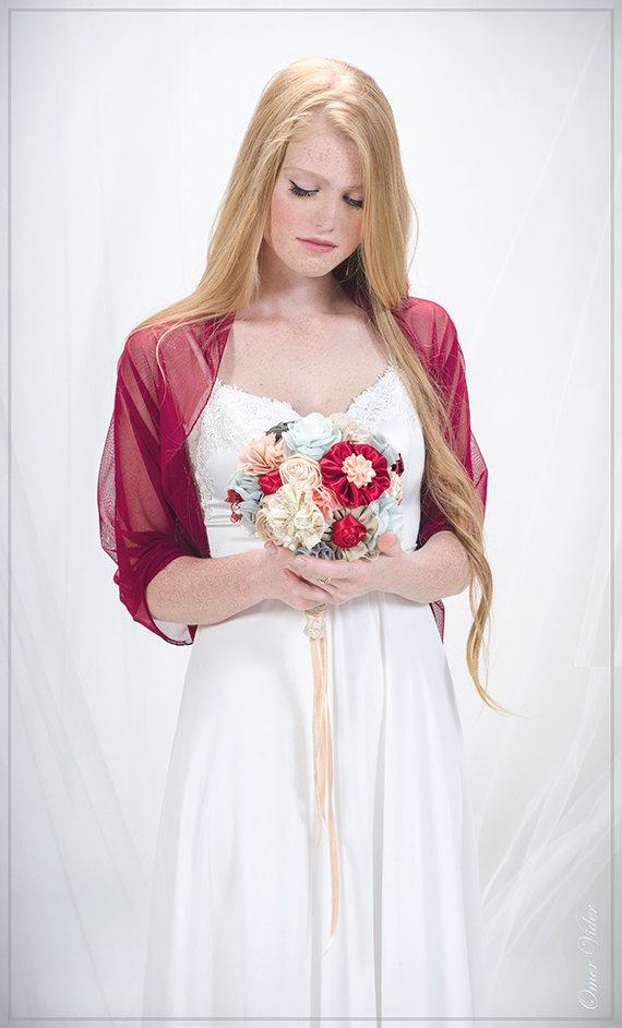 Burgundy Bridal Shrug. Wedding Loop Cover Up- Wear As A Shawl Shrug ...
