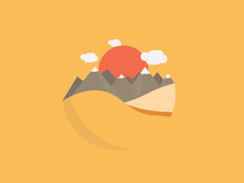 Sunrise in a desert | Illustrations, Flat illustration and Motion design