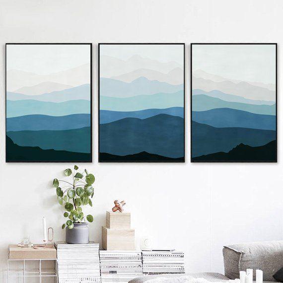 Mountains Print Blue Gray Wall Art Set Of 3 Prints Abstract Artwork