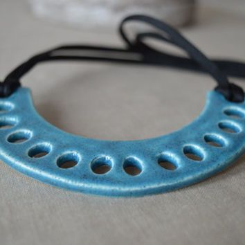 Ceramic statement necklace, turquoise bib necklace, geometric necklace, contemporary jewelry for women