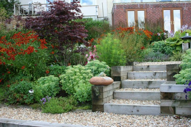 Kleiner Vorgarten mit Gräsern, einjährigen Pflanzen, Stauden ...
