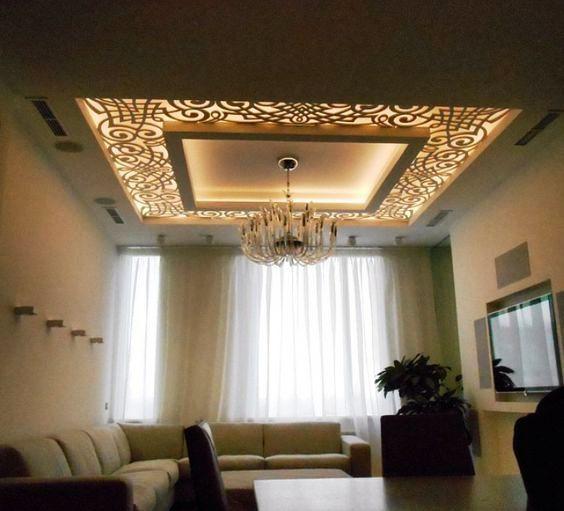 Luxury 42 CNC false ceiling design with LED 2018 ...