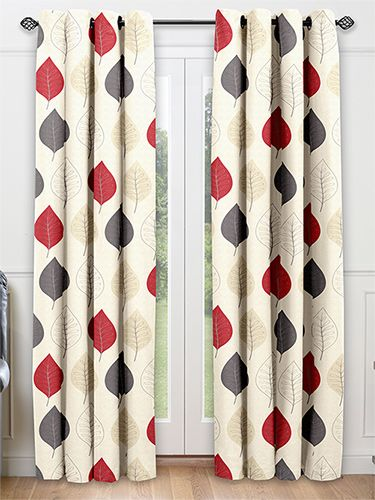 Cherry Leaf Red Ready Made Curtains From 2go