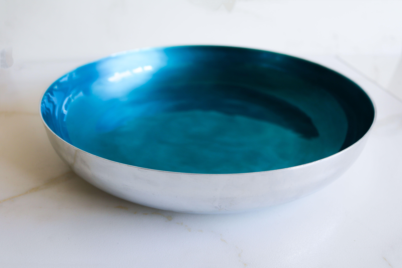 aluminium fruit bowl blue aqua bright fruit bowl serving home