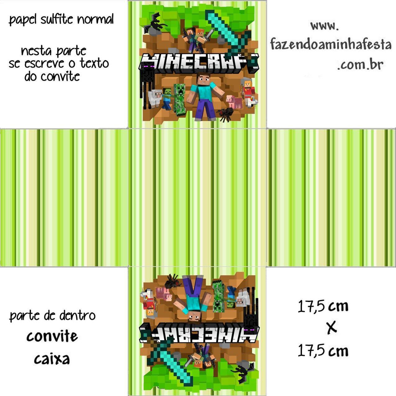 Minecraft - Convites Rótulos Lembrancinhas Templates e Imagens ... 25843f773c