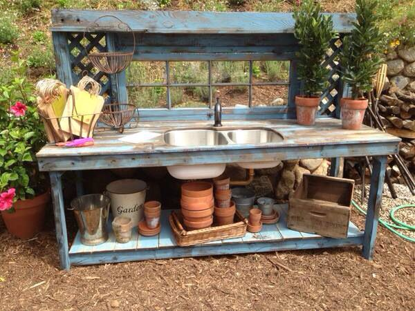 Love This Blue Potting Bench With Double Stainless Steel Sink - 7 foot stainless steel table