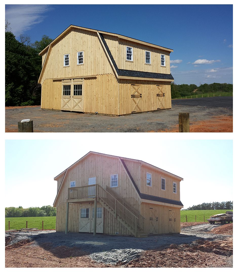 34x24 Modular High Profile Horse Barn Includes Gambrel: gambrel style barns