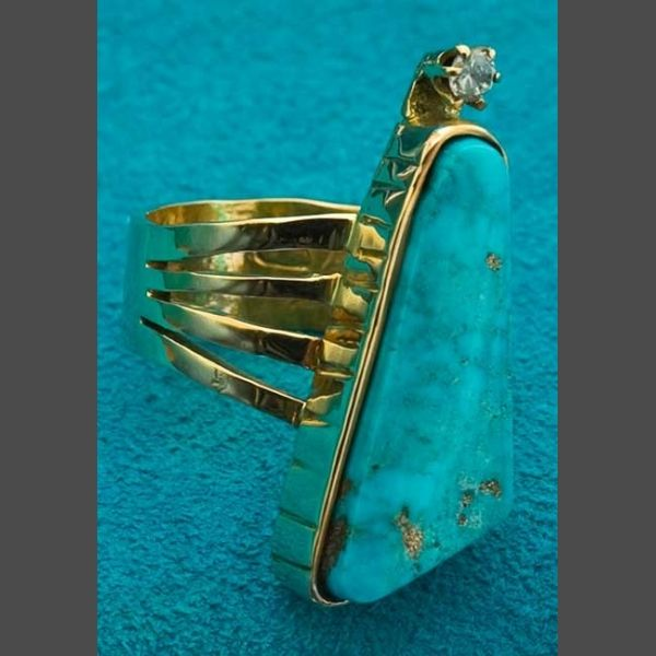 Turquoise and Gold Native American Ring Jewelry John Shopteese