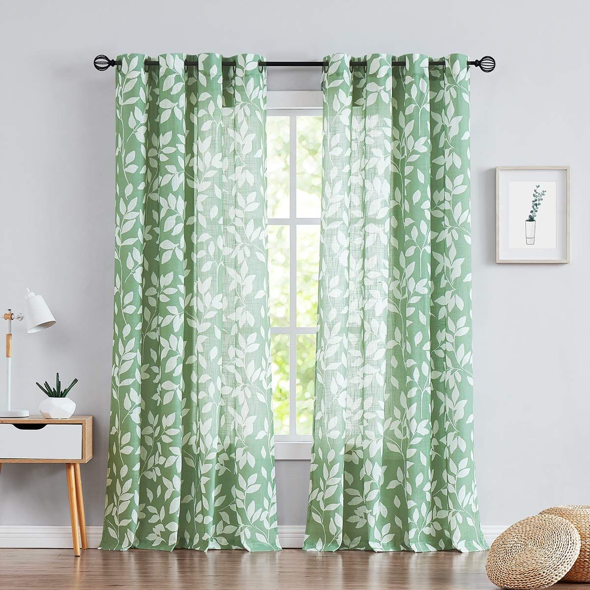 White Green Curtains For Living Room 84 Quot Length Leaf Print