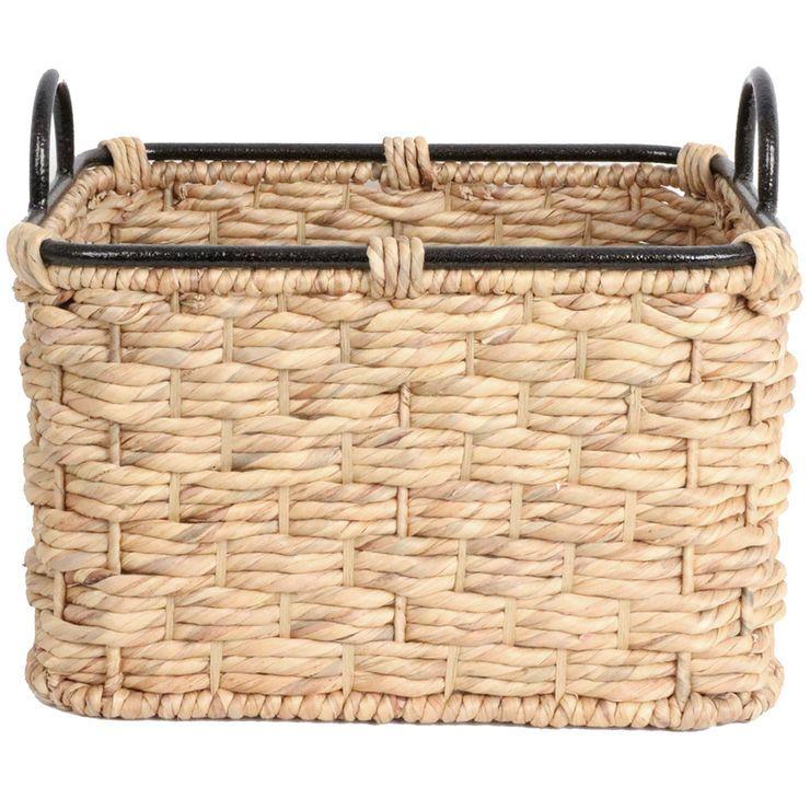 Water Hyacinth Basket Rectangle W Iron Handles
