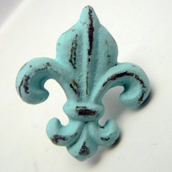 Fleur De Lis Cast Iron Drawer Pull Cabinet S Shabby Chic Distressed Rustic French Decor Beach Cottage Blue