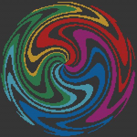 Cross Stitch Pattern - Wig Wag Spiral Design - Chart W02 - by kanitted. $4.00, via Etsy.