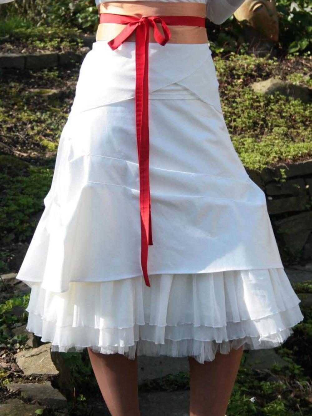 White Vintage Cotton-Blend plus size Skirts