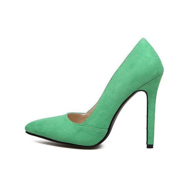 Rotita Women Green Pointed Toe Suede High Heels (90 SAR) ❤ liked on Polyvore featuring shoes, pumps, heels, high heels, green, green suede pumps, heels & pumps, pointy-toe pumps, suede pointed toe pumps and stiletto heel pumps