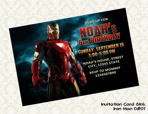 Iron Man Invitation - Birthday party printable (4x6) Iron Man