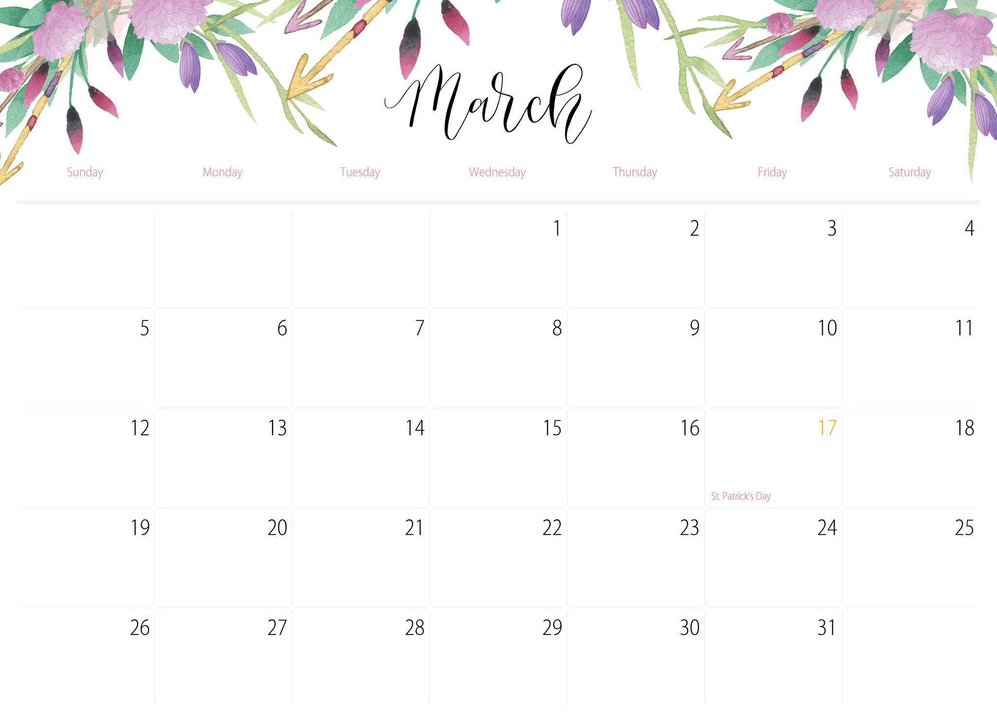 Floral Printable Calendar