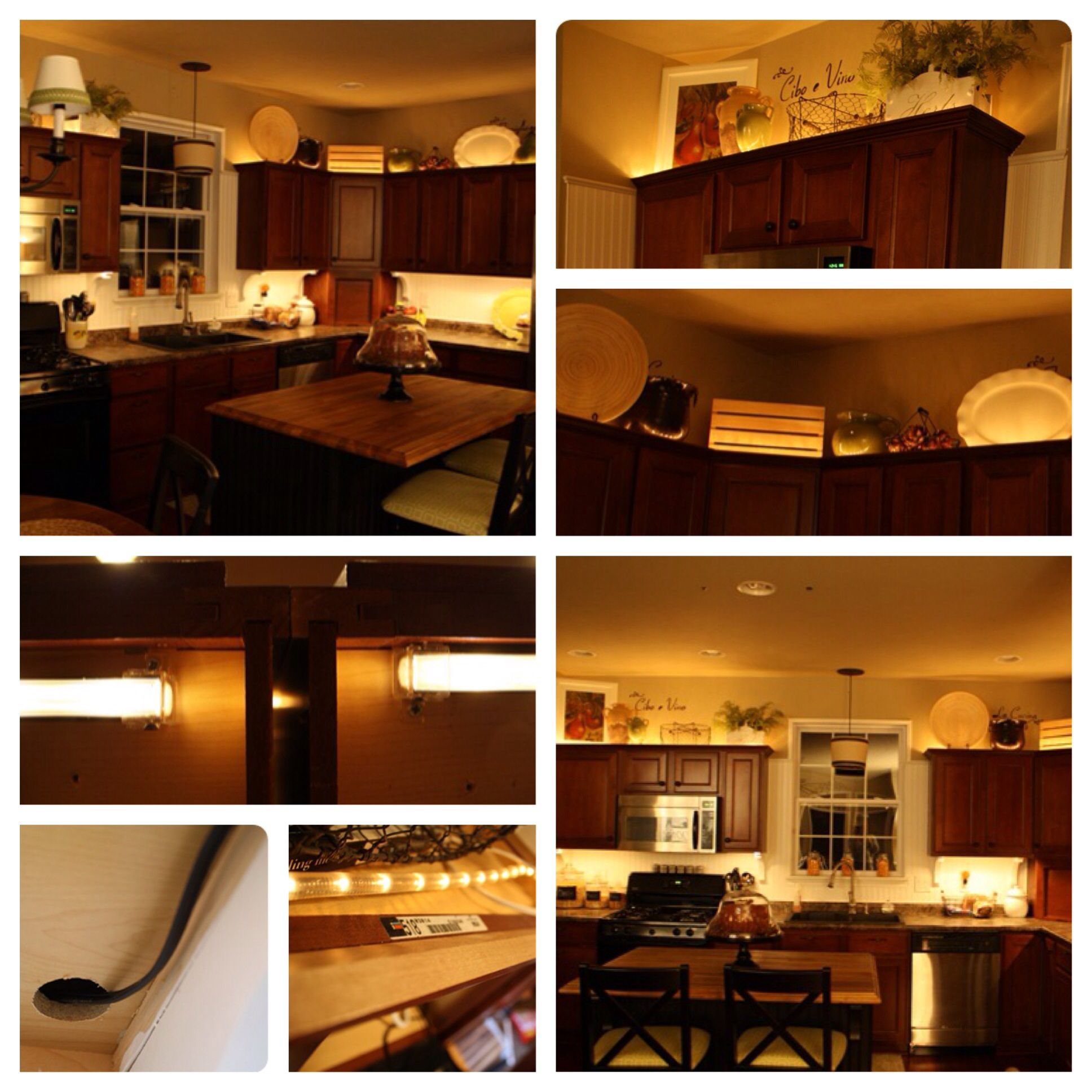 Adding Lights Above And Below The Cabinets. #DIY Christmas