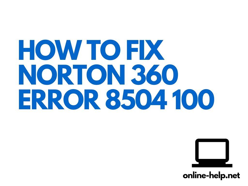 Norton 360 error 8504