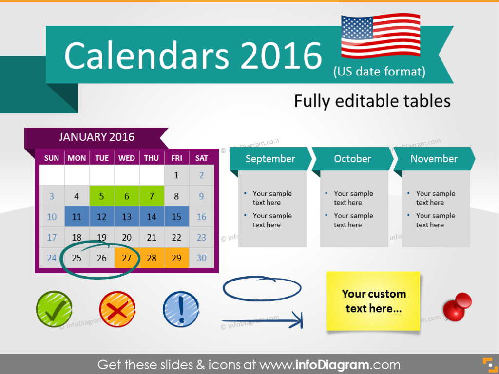 Calendars 2016 timelines graphics US format (PPT tables