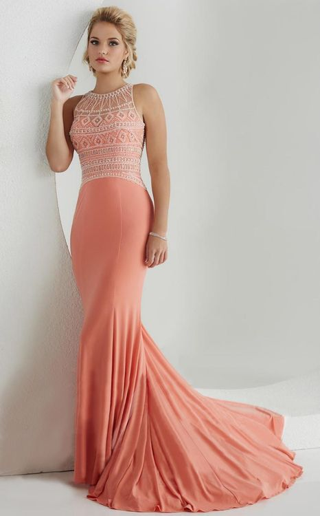 Tiffany Designs - 46021 Beaded Illusion Jersey Long Gown | Illusion ...