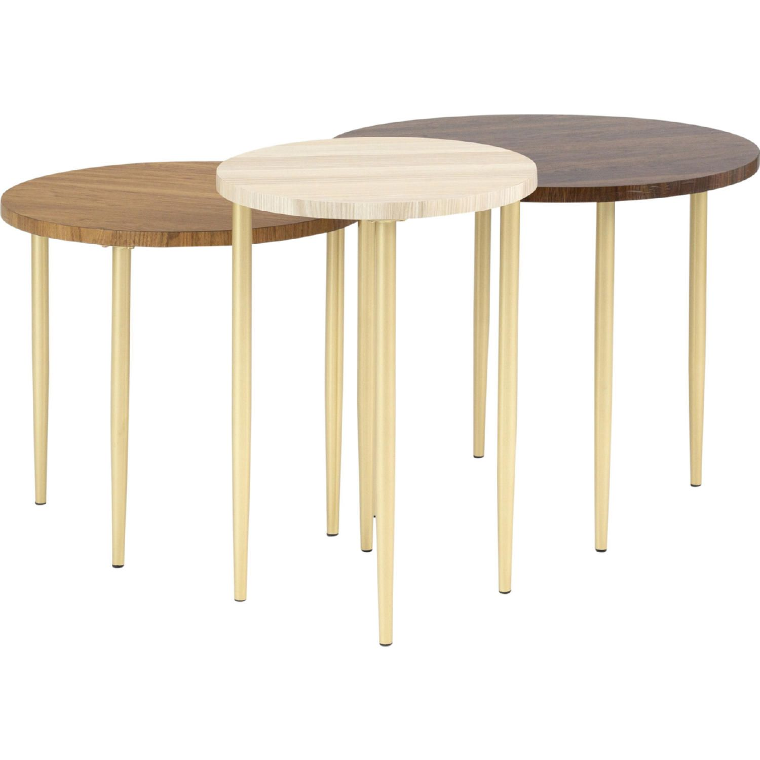 Walker Edison Af3pnestctdw 3 Piece Round Nesting Coffee Table Set