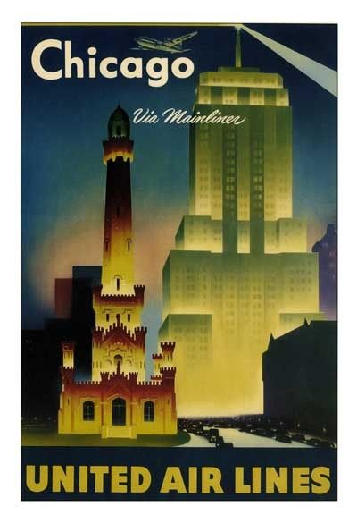 Old United Airlines Chicago Travel Poster Vintage Travel Posters Vintage Airline Posters Travel Posters