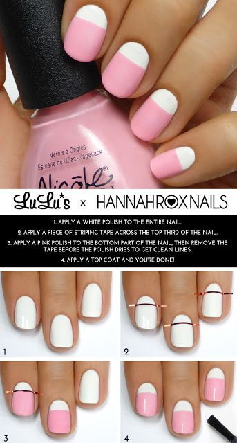 Spring Pink And White Nail Design Tutorial Nails Pinterest