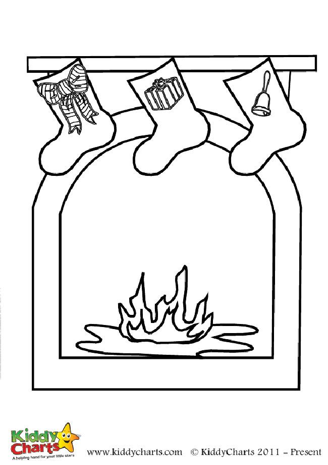 Christmas fireplace coloring page: Free to print | Pinterest