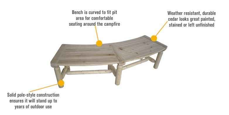 Stonegate Designs Outdoor Wooden Fire Pit Bench Model T