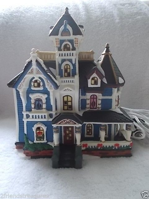heartland valley village porcelain lighted house blue victorian house in box valley village village houses
