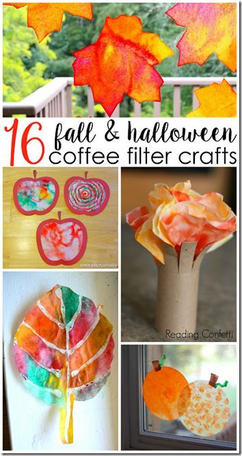 16 fun, creative, and unique Coffee Filter fall crafts for kids - easy homemade halloween decorations for kids
