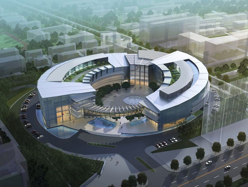 An aerial view of the circular design proposed by quezada for Architecture design company