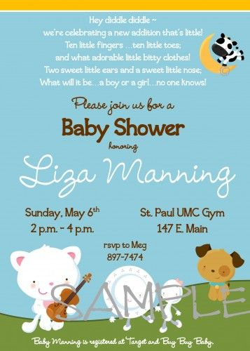 Hey Diddle Diddle Nursery Rhyme Personalized Baby Shower - baby shower invitations words