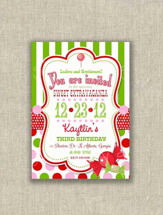 Circus Christmas Birthday Invitation Candy Green White