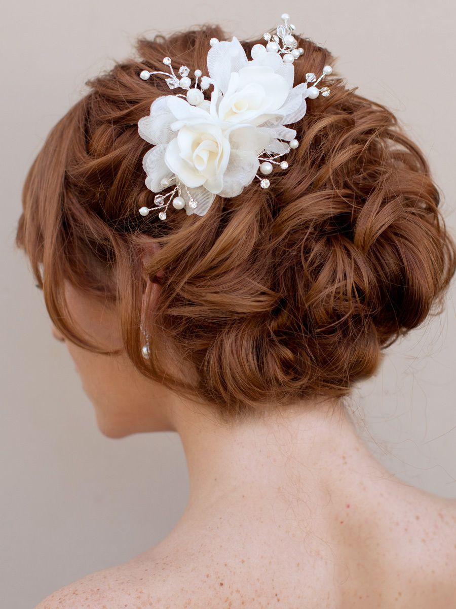 hair comes the bride - double bridal hair flower ~ mona, $72.00