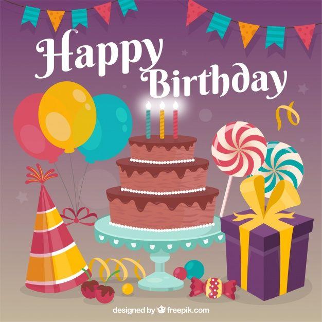 Happy birthday party with flat design Free Vector Vectors