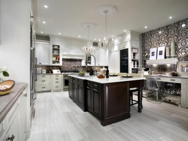 White Kitchen Espresso Island candice olson designed this kitchen with travertine tiles floors