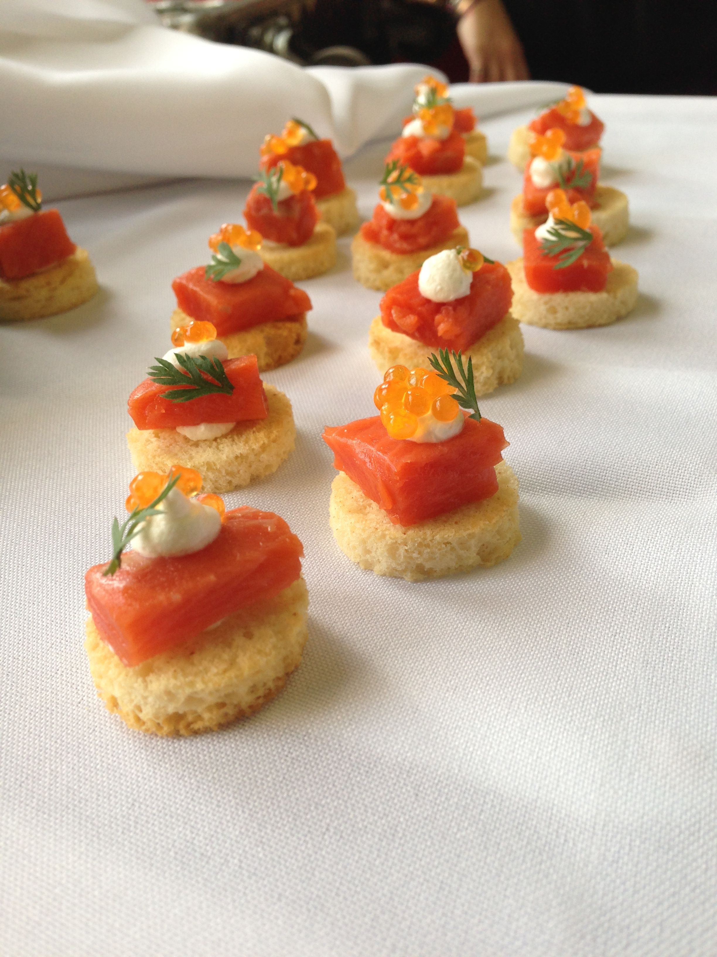 Smoked Salmon & Caviar, a perfect pairing, are scaled down to #Canape size, great for a large group