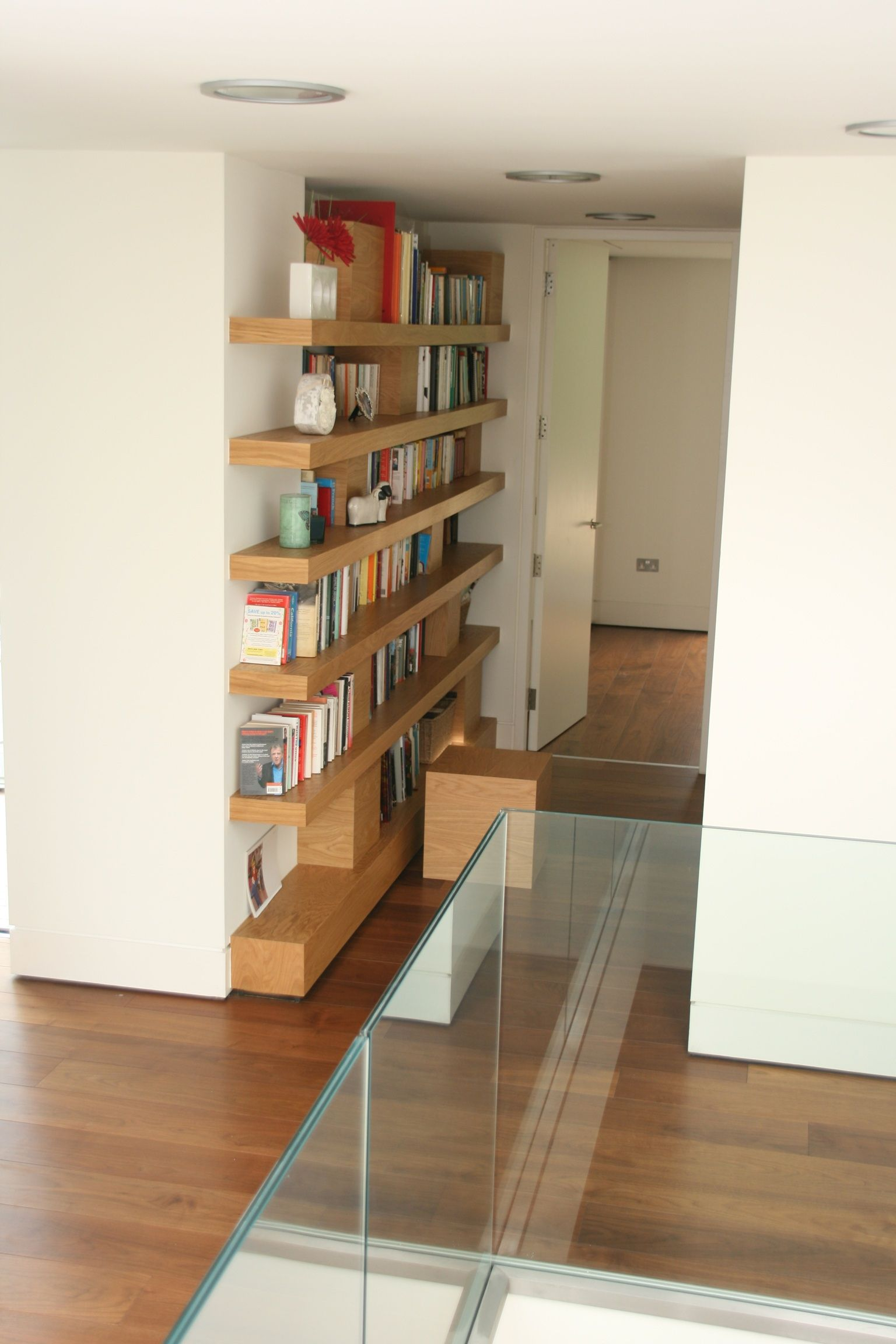 Oak Floating Shelf Bookcase With Removable Cube Book Ends That Can Also Be Used As Seats