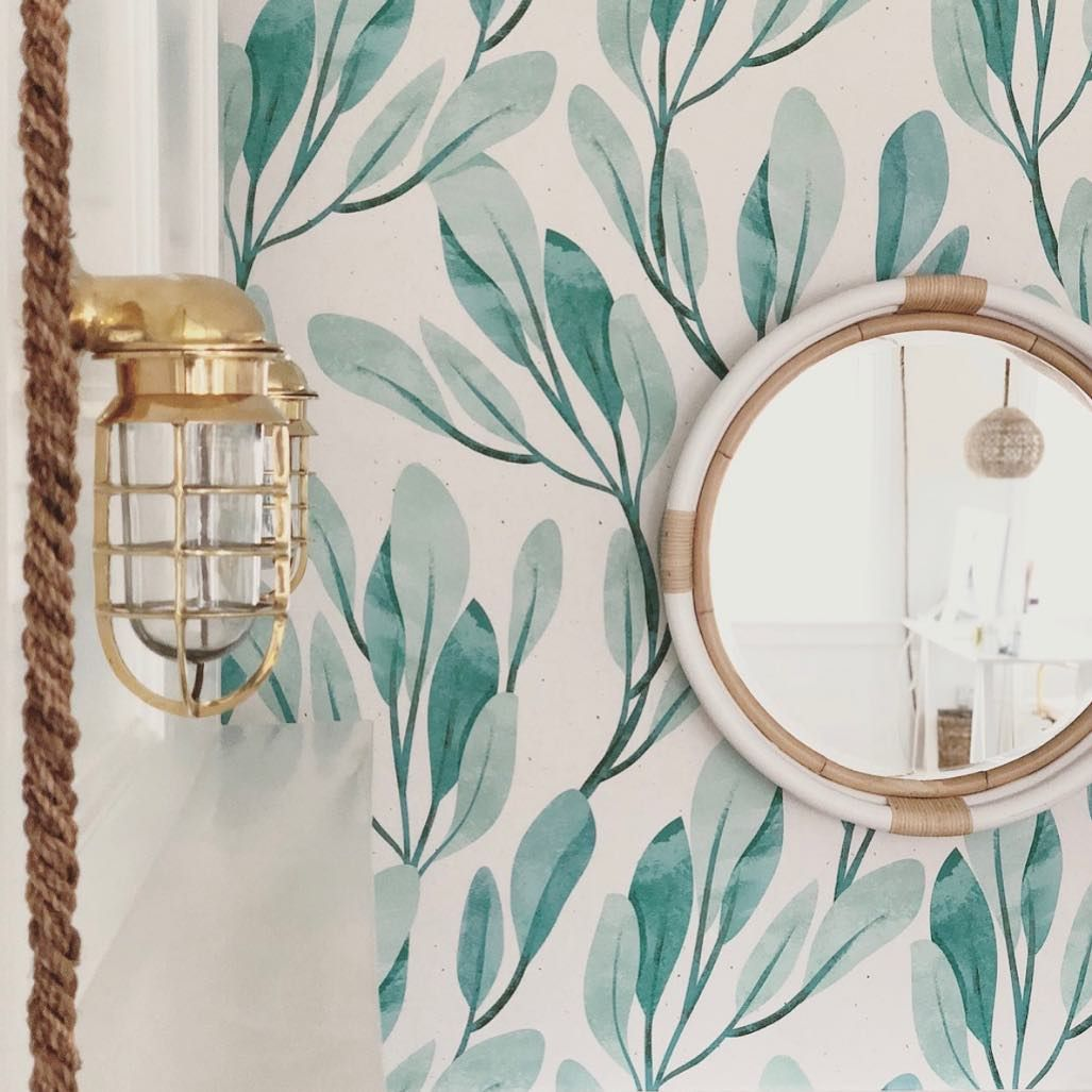 Nautical Accessories On Point The Passageway Light Paired With Fun Wall Paper Rope And The Cutest Mirror I Mirror Accent Wall Peel And Stick Wallpaper