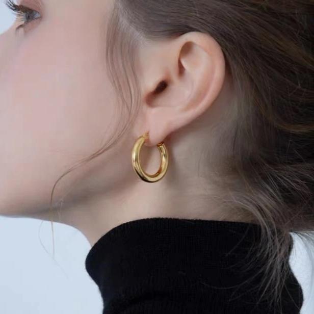 18K Gold Plated Chunky Medium Hoop Earrings, Gold Hoop Earrings, Silver Hoop Earrings, Light Weight Hoops, Large Hoop Earrings, Tube Hoop Earrings