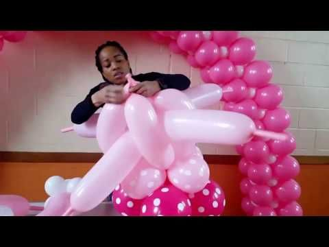 Tutorial minnie mouse balloon column standee lifesize for Balloon decoration ideas youtube