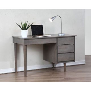 Add Style To Your Home Office With This Vintage Inspired Desk Constructed Of Rubberwood In A Grey Finish Modern Piece Has Three Drawers Offering