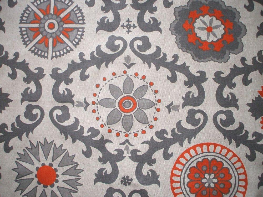 New Rosa Orange Gray Beige Geometric Full Duvet Cover Reversible Linen Textured