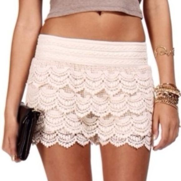 HOST PICKTINY!!! Super cute beige lace shorts These shorts are very small! Size 00. I received them and they just don't fit! Never worn Other