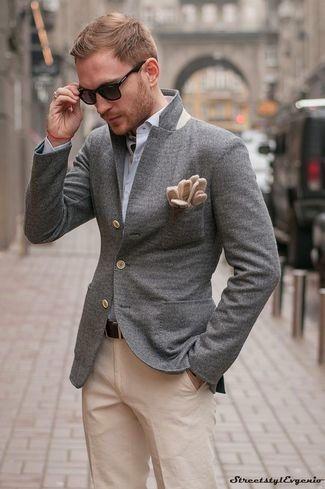 1ffb969407 Look de moda  Blazer de lana gris