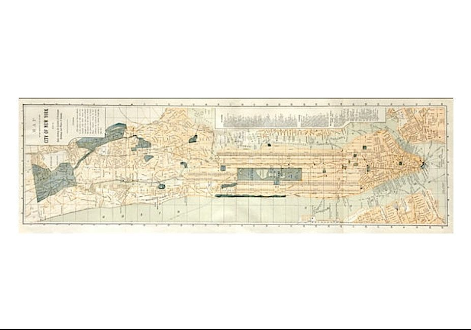 C MANHATTAN ANTIQUE MAP New York City Map Original Antique - Manhattan island map