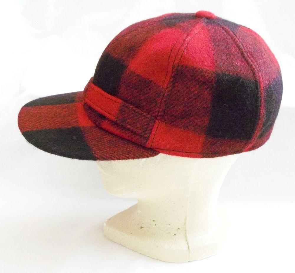 8c6440a3bac96 VINTAGE MENS WOOL HUNTING HAT CAP RED PLAID ~EAR FLAPS~WATERPROOF VISOR  NICE  SooWoolenMills