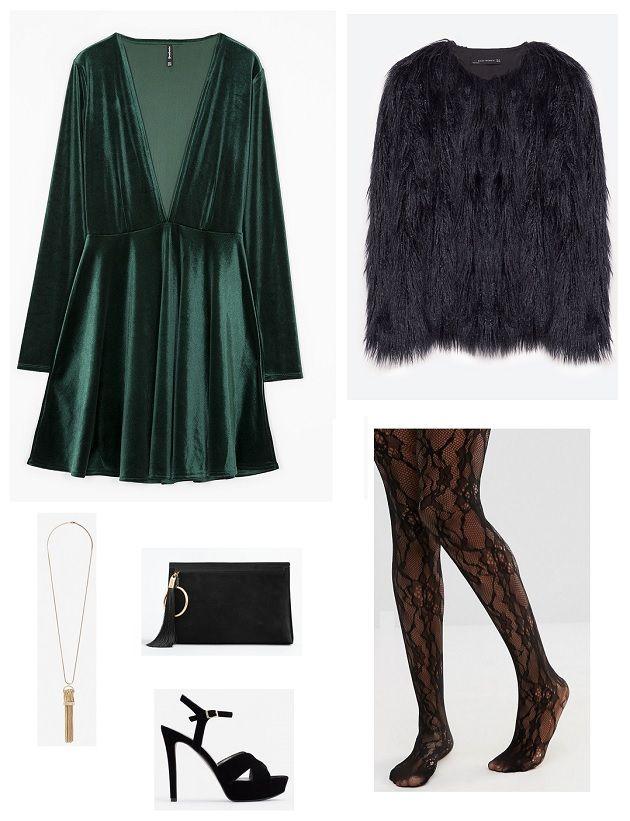 Look vestido terciopelo verde